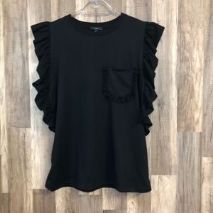 DREW Black Ruffle Sleeve Pocket Top M